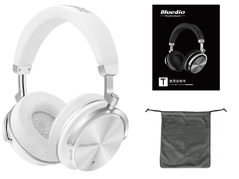Bluedio T4 Hot Selling Headphones Cancelling Bluetooth Headphones with Mic Over-Ear Swiveling Wired and Wireless Headphones Headset for Cell Phone/PC bass Fashion (White)