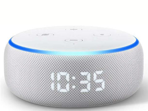 Smart Speaker with Clock and Alexa Sandstone New Echo Dot 3rd Generation Reviews and Features
