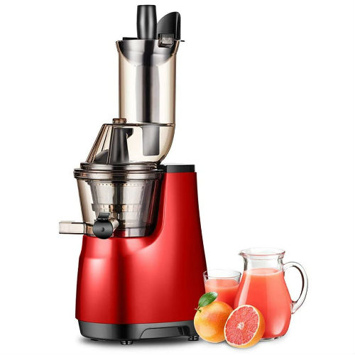 Masticating Juicers Red, Reverse Function Easy to Clean, Cold Press Juicer Machine