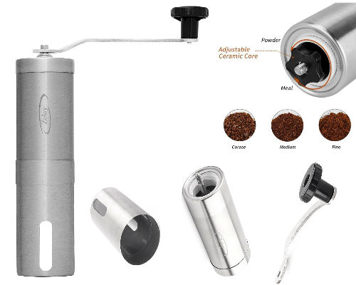 Manual Coffee Grinder Zolay, Brushed Stainless Steel, Conical Burr Mill