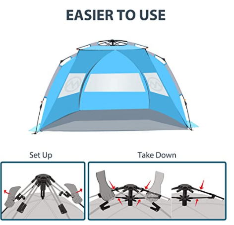East Hills Instant Shade Deluxe Family Size Beach Shelter