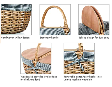 Picnic Time Country Picnic Basket With Liner